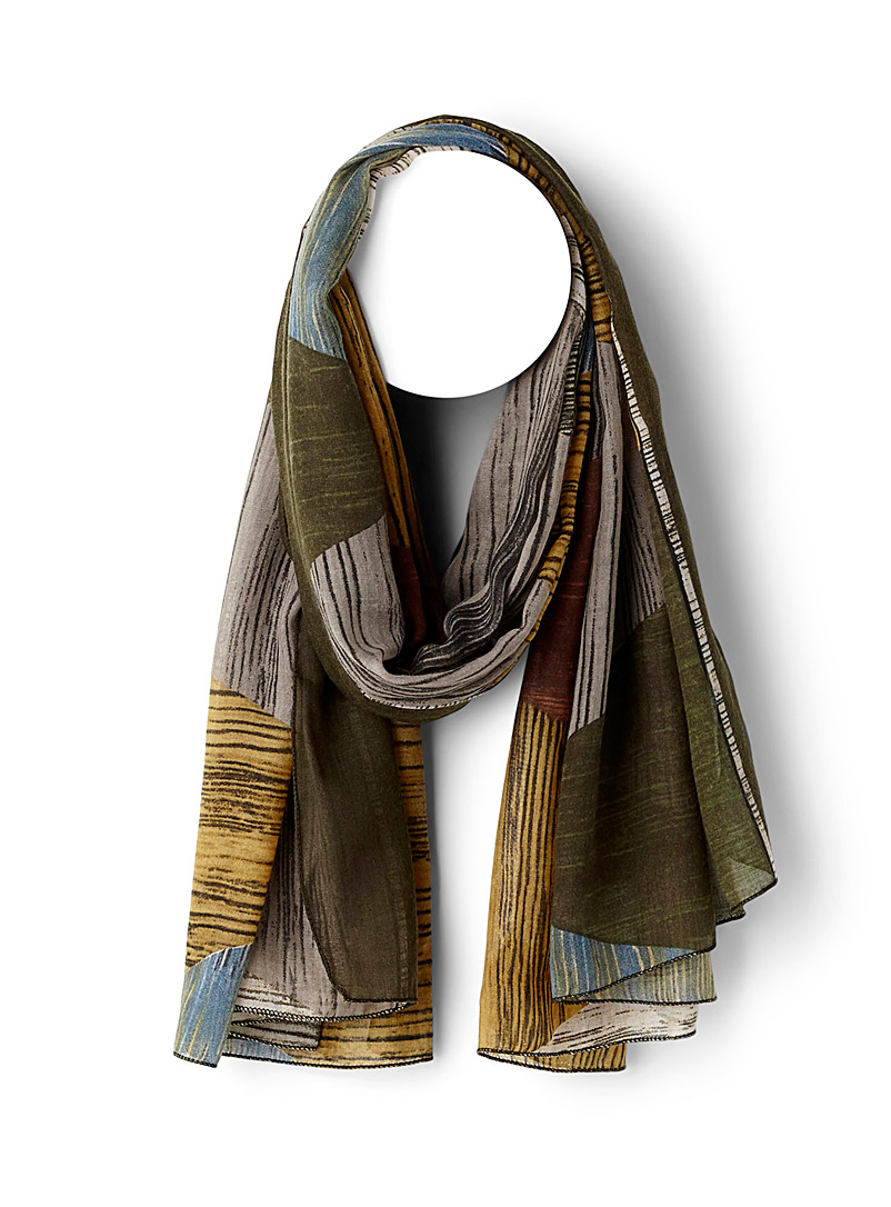 Geo painting scarf - Light scarves - Patterned Green