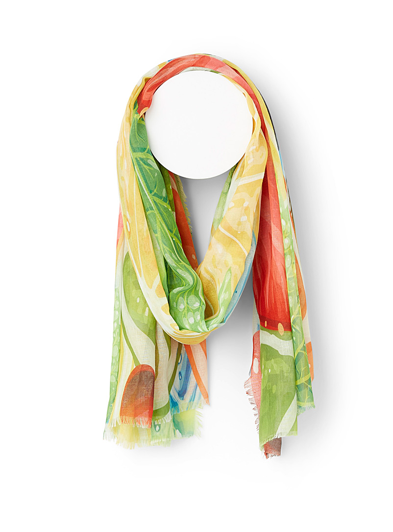 Simons Patterned Yellow Giant fruit scarf for women