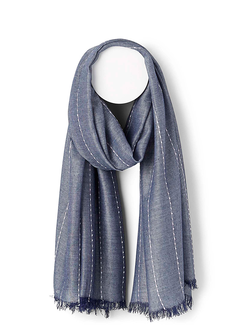 Simons Blue Solid topstitched scarf for women