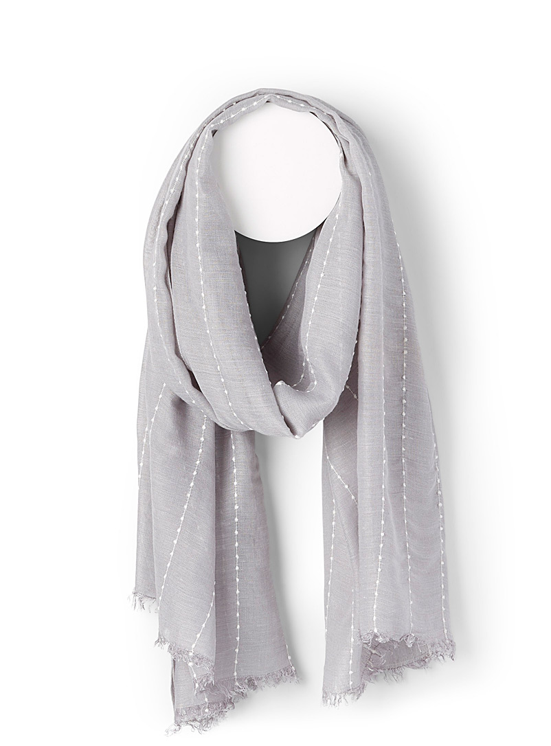 Simons Pearl grey  Solid topstitched scarf for women