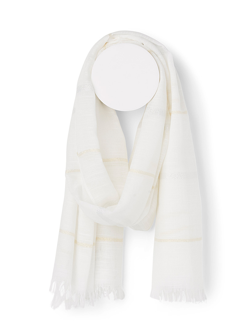 Simons Ivory White Shimmery stripe scarf for women