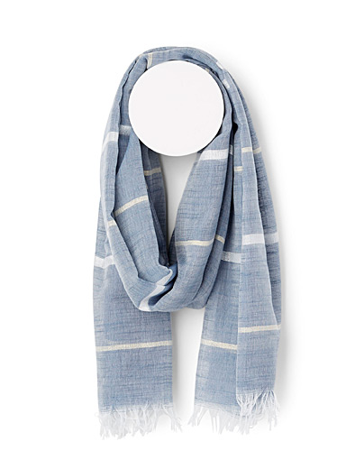 Simons Blue  Shimmery stripe scarf for women