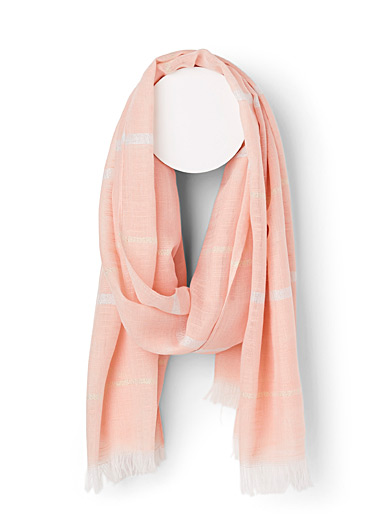 Simons Coral  Shimmery stripe scarf for women