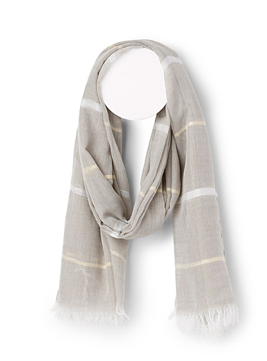 Simons Light beige Shimmery stripe scarf for women