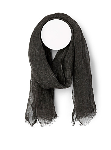 Simons Black Lightweight linen scarf for women