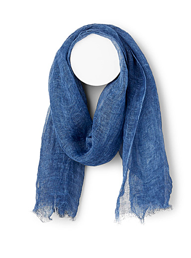 Simons Blue Lightweight linen scarf for women