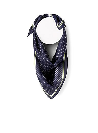 Simons Marine Blue Mini dot satiny scarf for women