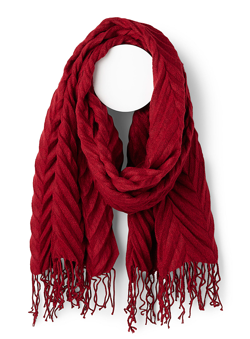 Chevron embossed scarf - Winter Scarves - Red