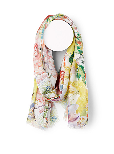 Painterly floral scarf