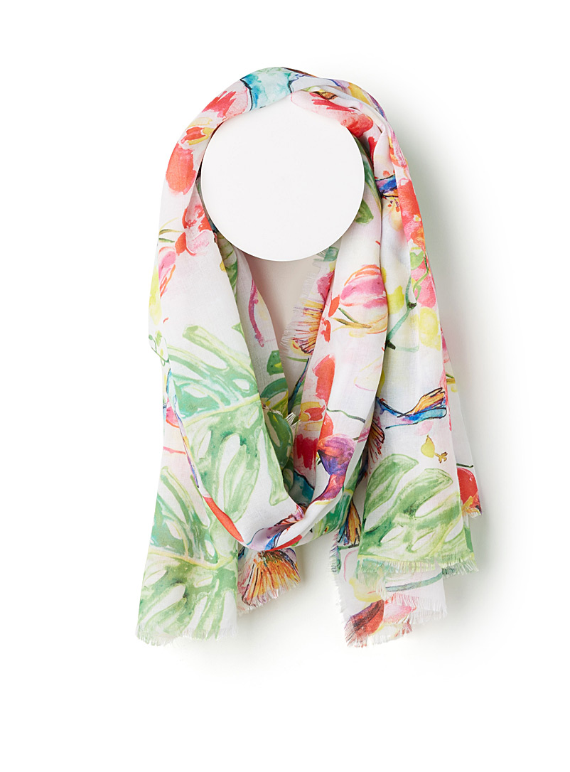 Exotic hummingbird scarf - Light scarves - Patterned White