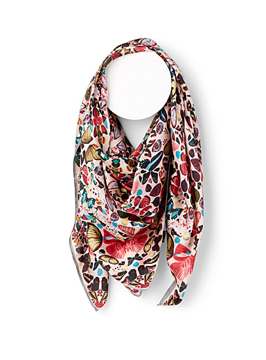 Large satiny butterfly scarf