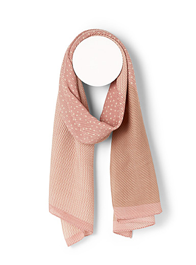 Stripes and dots pleated scarf