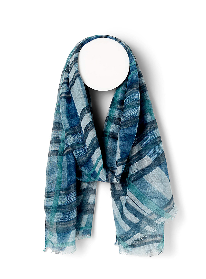Simons Patterned Blue Hand-drawn check scarf for women