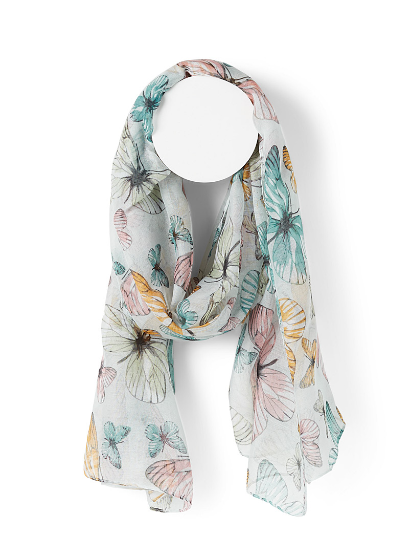 Simons Pearly Spring butterflies scarf for women