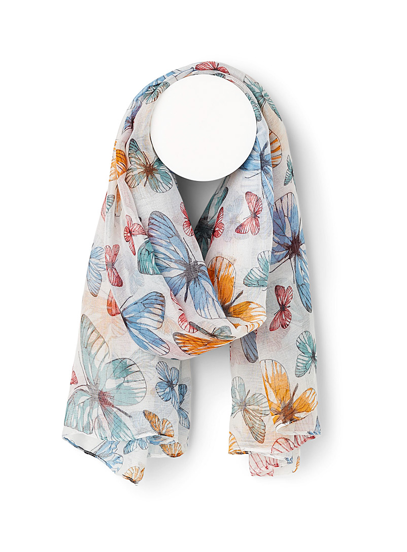 Simons Patterned White Spring butterflies scarf for women