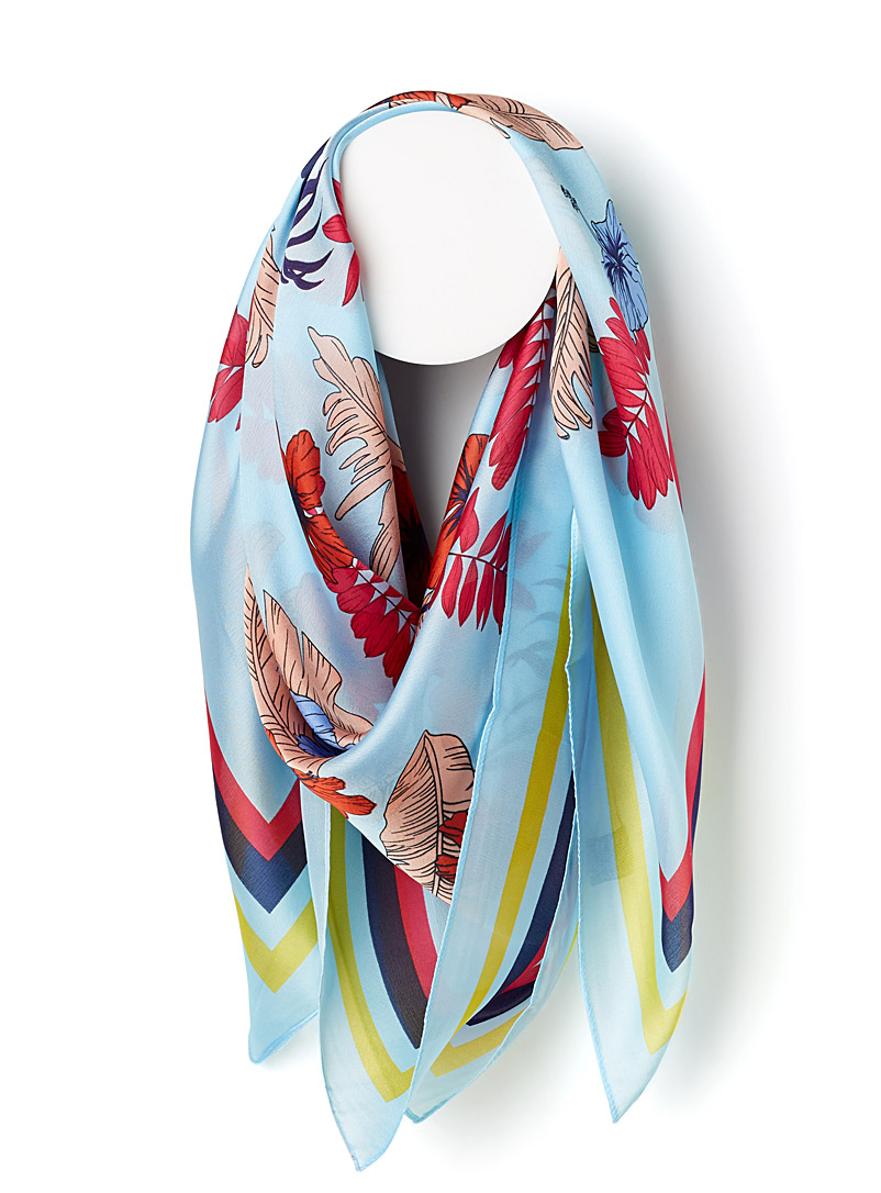 Colourful hibiscus scarf - Light scarves - Patterned Blue