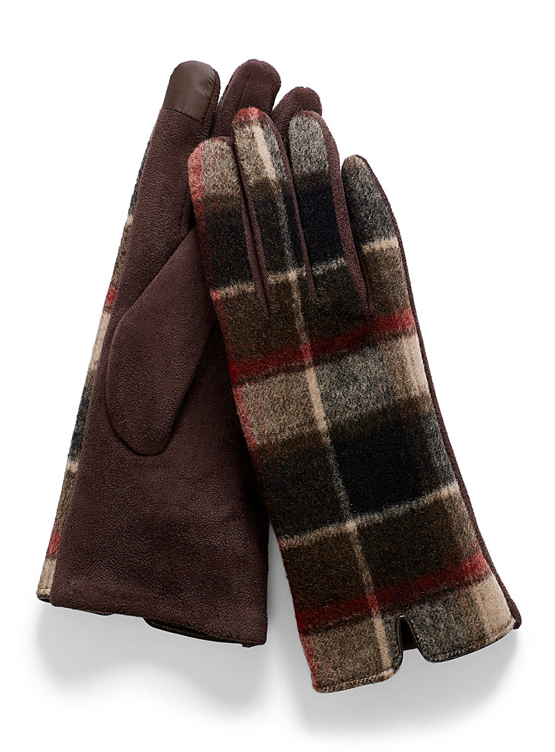 Simons Patterned Brown Sophisticated tartan tactile gloves for women