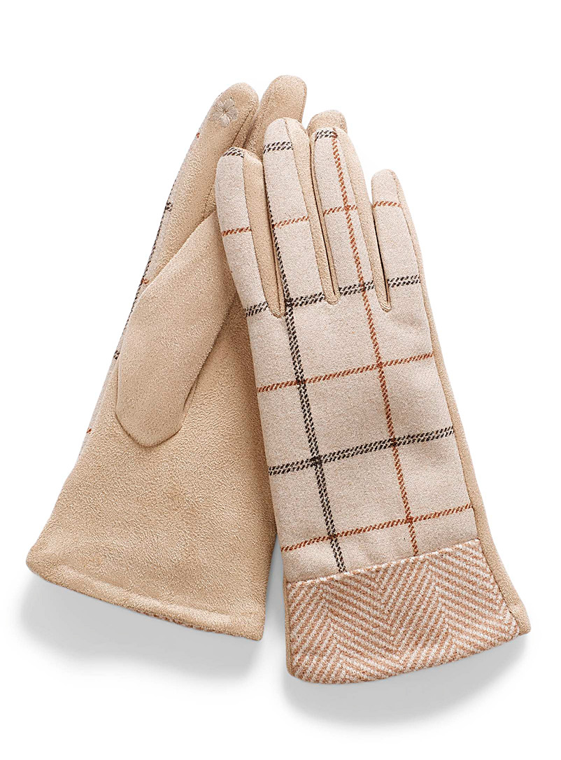 Simons Patterned Brown Check and chevron tactile gloves for women
