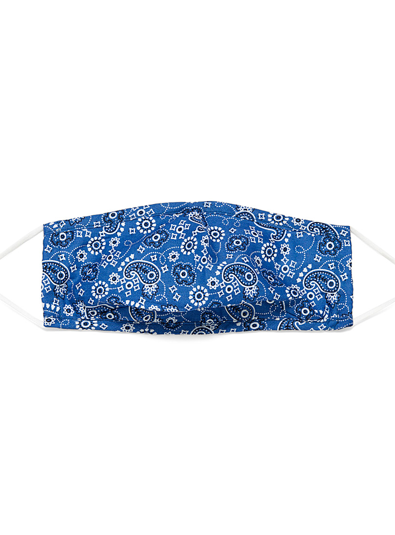 Simons Patterned Blue Bandana fabric mask for women