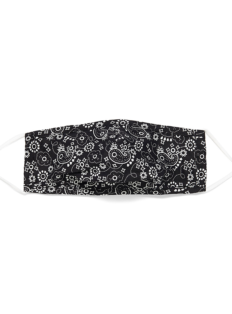 Simons Patterned Black Bandana fabric mask for women