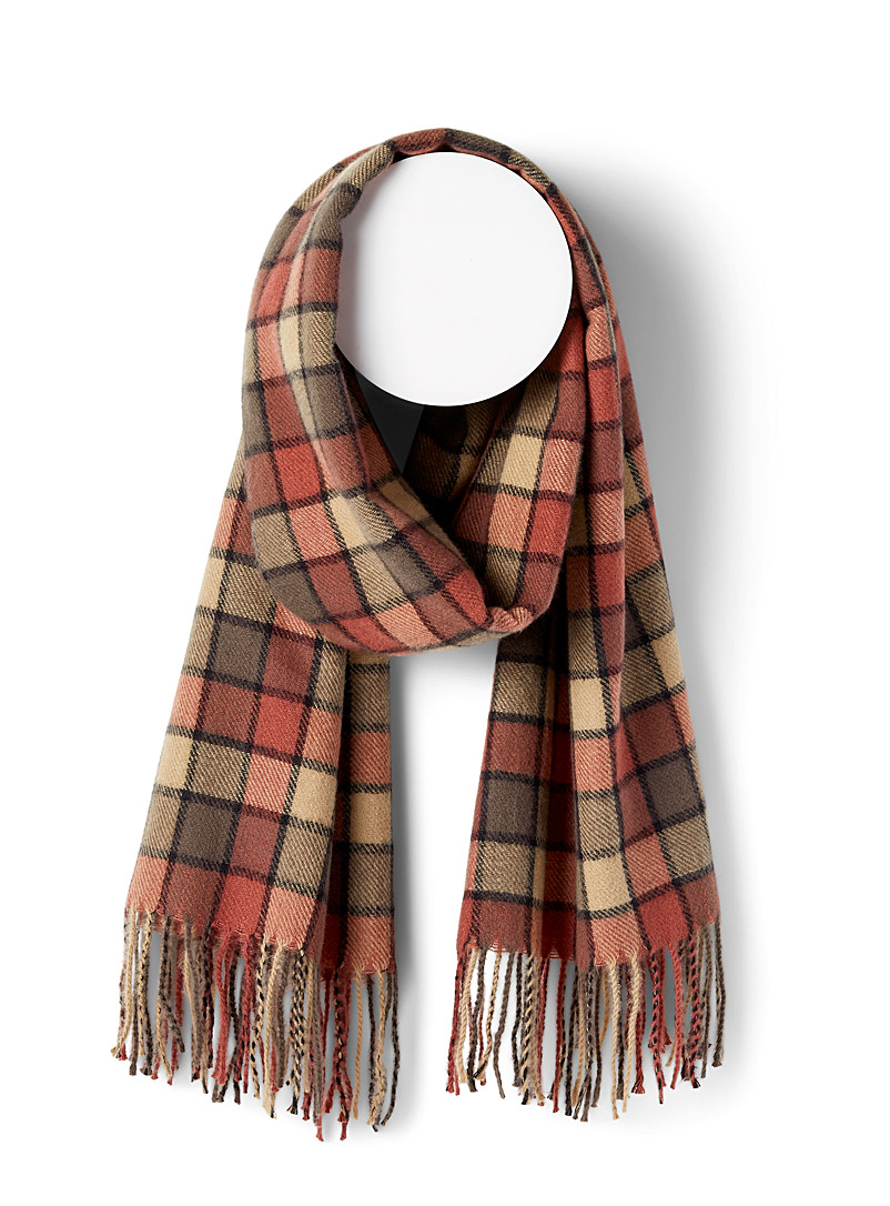 Simons Patterned Red Windowpane check scarf for women