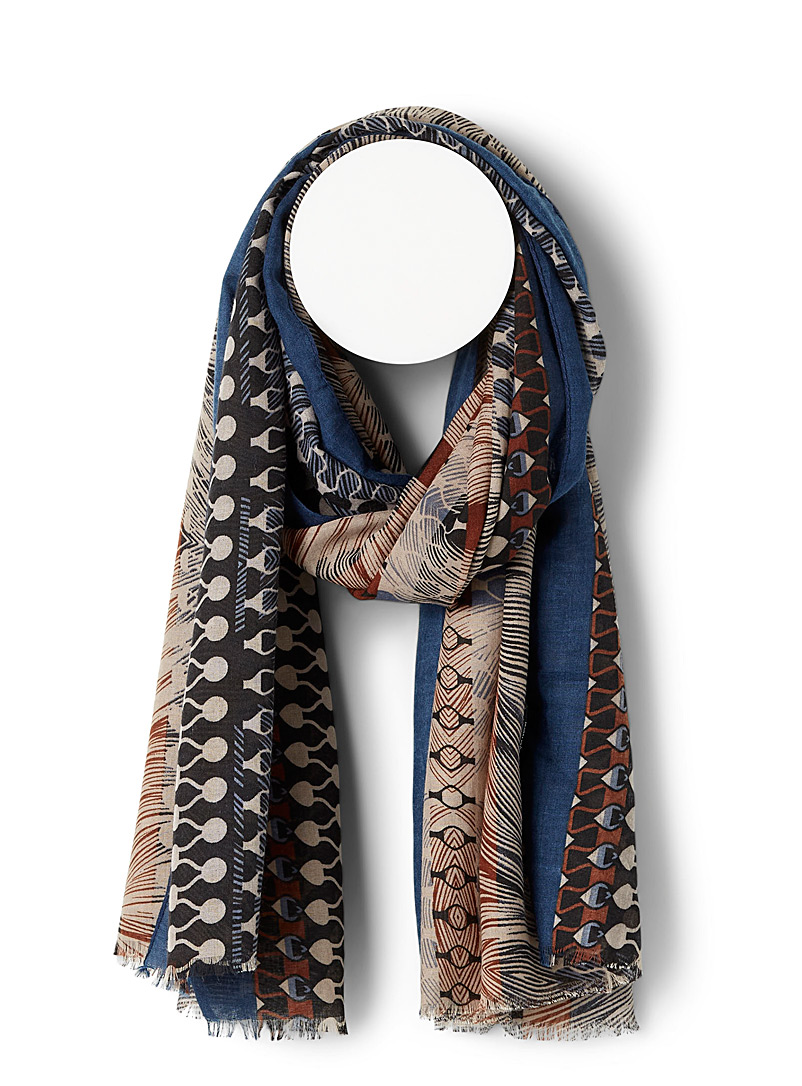 Simons Patterned Blue Abstract bark scarf for women