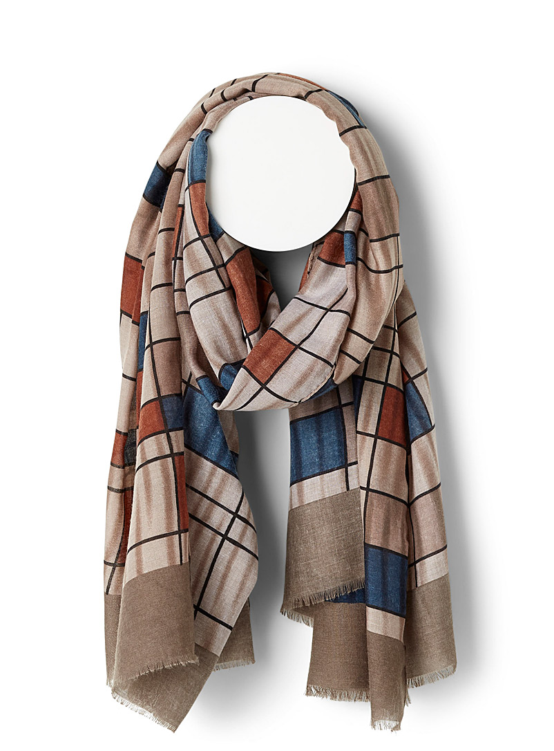 Simons Patterned Brown Checked composition scarf for women