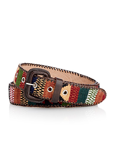 Chocolate-accent ikat belt