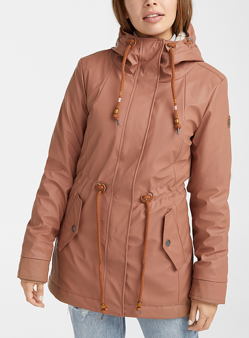 Ragwear Dusky Pink Manadis plush-lined raincoat for women
