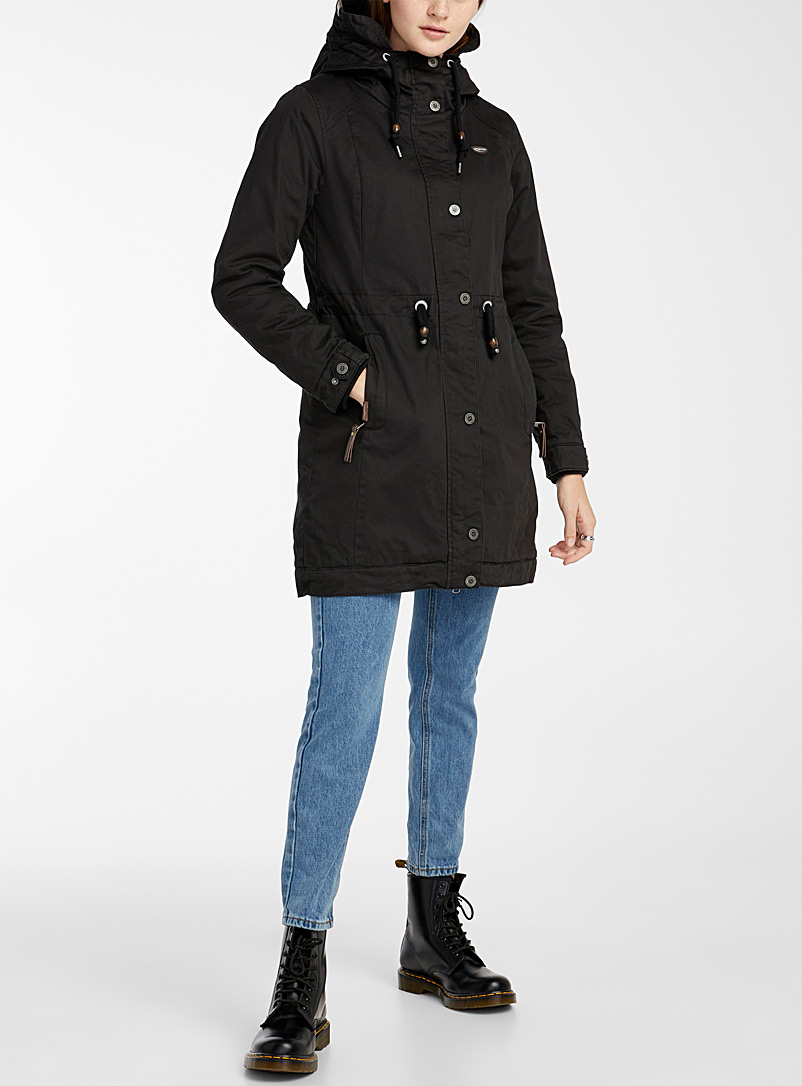 Ragwear Black Aurorie organic cotton parka for women