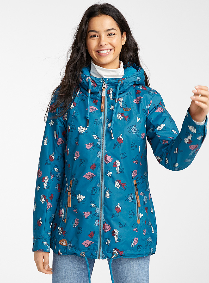 Ragwear Patterned Blue Zuzka abstract flower parka for women
