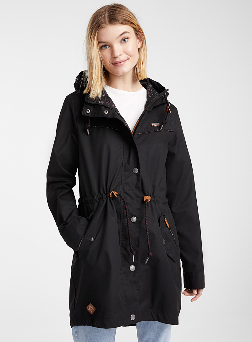 Ragwear Black Canny long parka for women