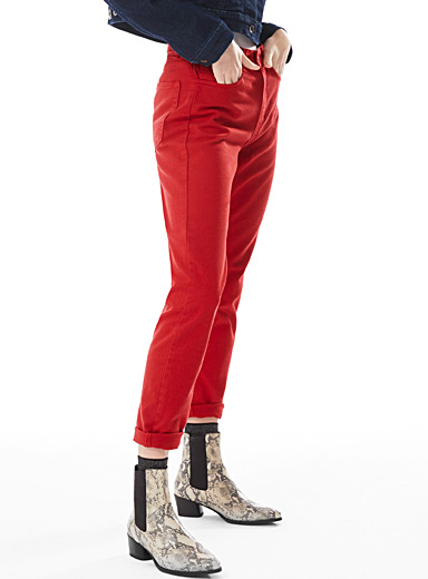 Bright red mom jean