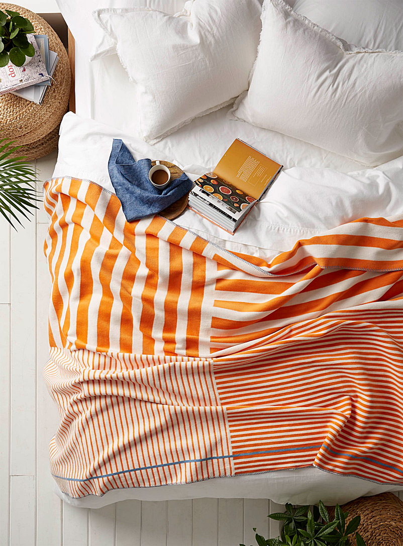 Pad Orange Parasol-stripe throw  150 x 200 cm