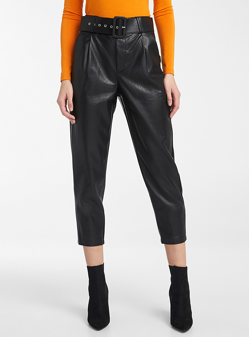 Icône Black Faux-leather belted pants for women