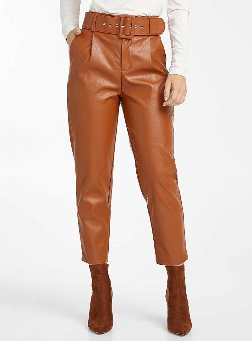 Icône Fawn Faux-leather belted pants for women