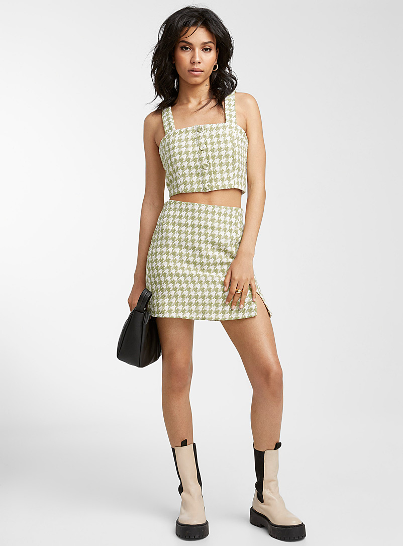 Icône Patterned Green Botanical green tweed top for women