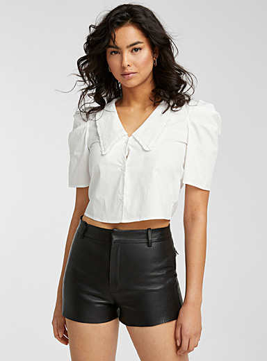 Ruffled Peter Pan-collar poplin blouse