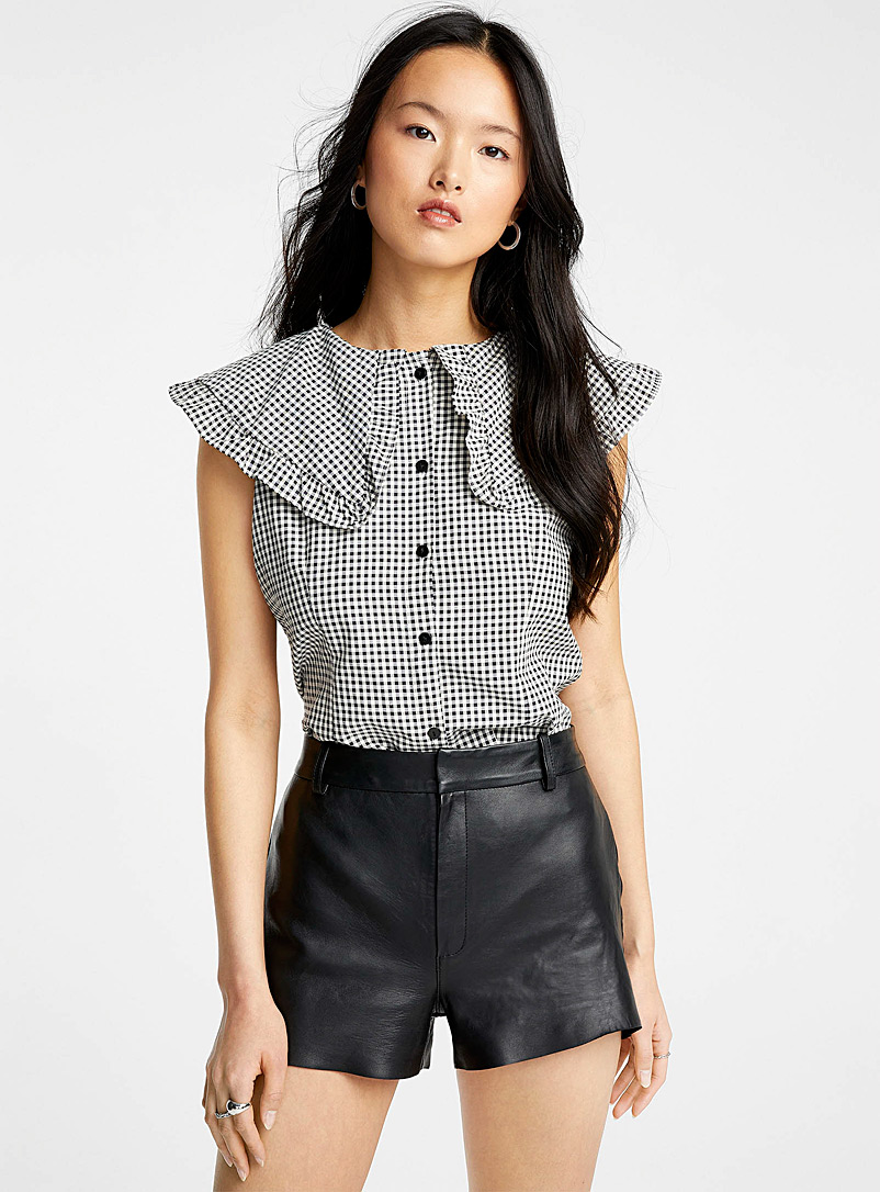 Icône Black and White Peter Pan-collar gingham blouse for women