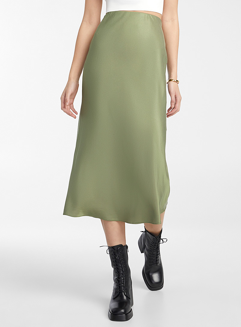 Icône Green Satin midi skirt for women