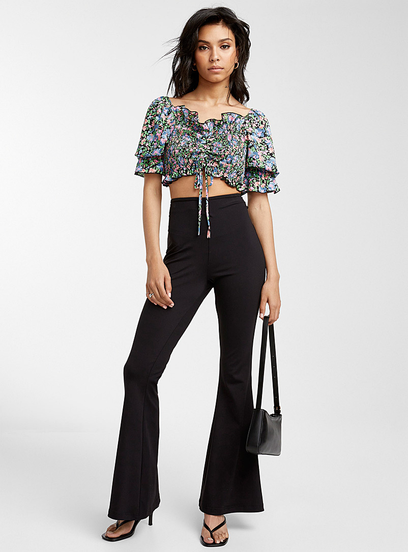 Icône Patterned Black Floral puff-sleeve blouse for women