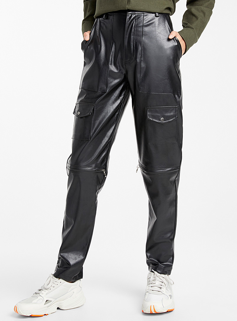 Faux-leather cargo pant - Slim - Black