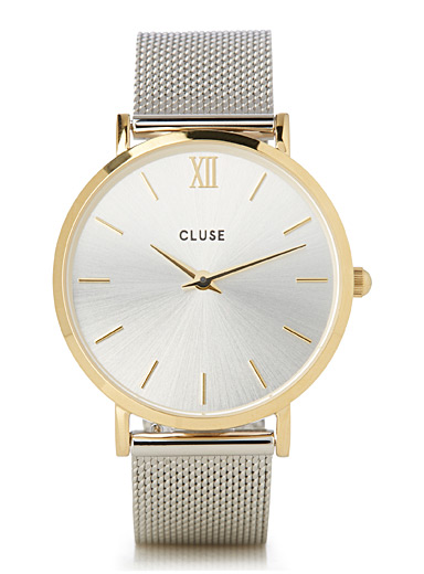 Silver and gold mesh Minuit watch