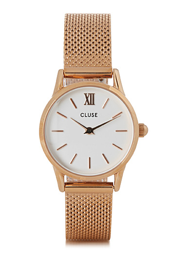 La Vedette rose gold mesh watch