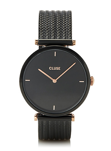 Cluse Black Triomphe mesh band watch for women