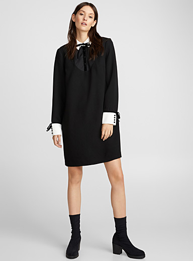 Velvet band contrast-trim dress