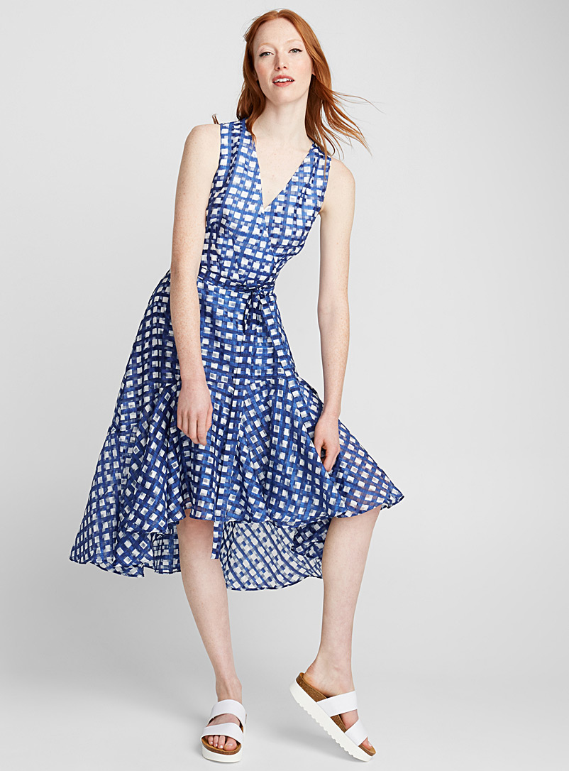 Gingham ruffle dress - Fit & Flare - Patterned Blue