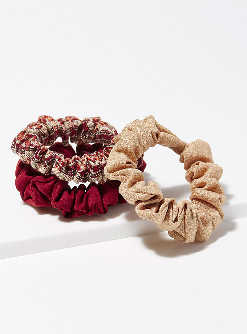 Simons Patterned Red Small fall scrunchies  Set of 3 for women