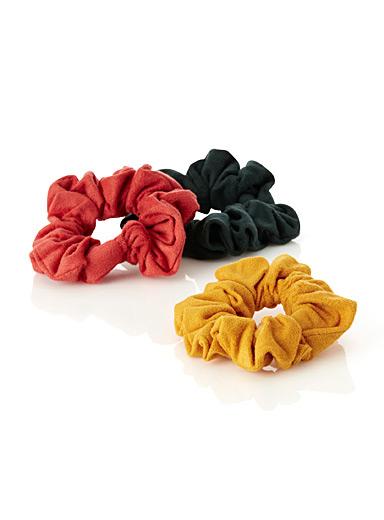 Faux-suede scrunchies <br>Set of 3