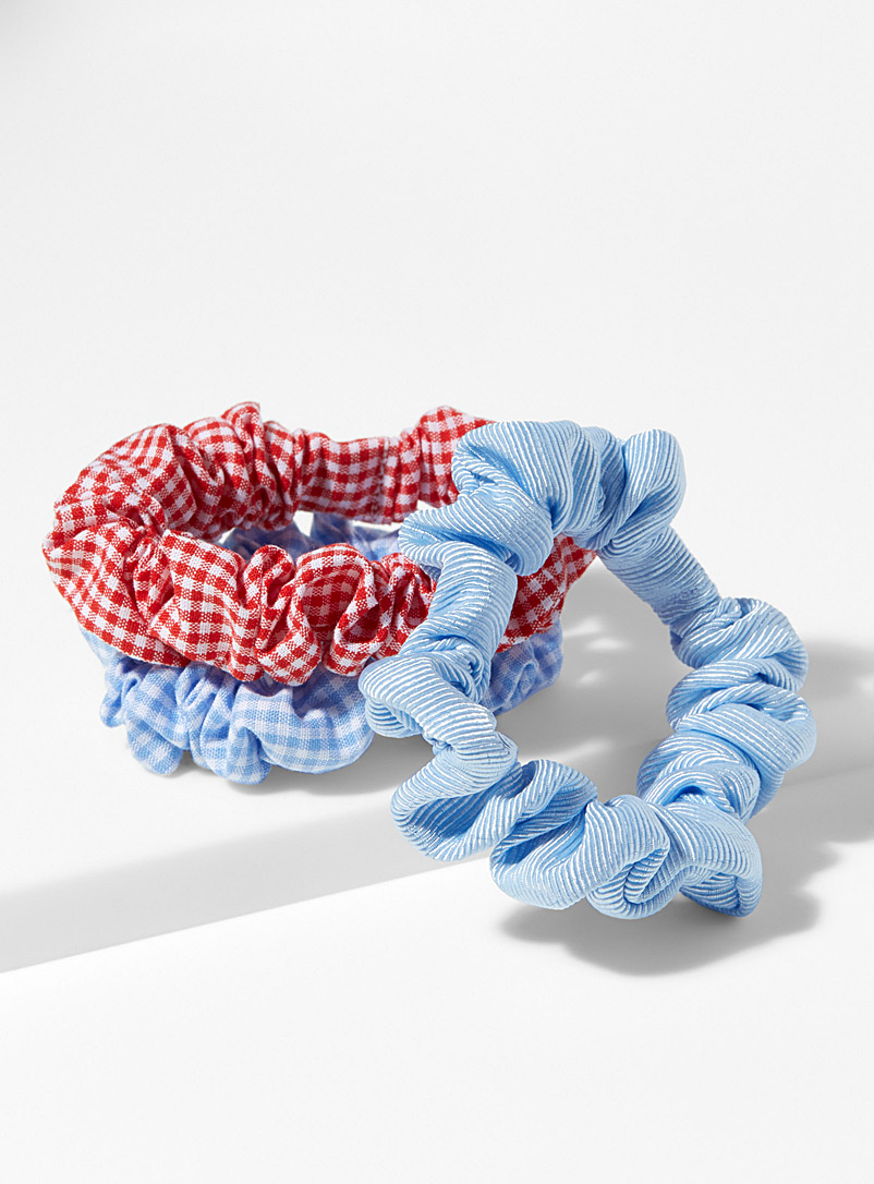 Colourful scrunchies  Set of 3 - Scrunchies - Patterned Blue